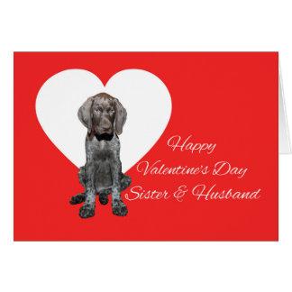 姉妹及び夫の光沢のあるハイイログマのバレンタイン カード