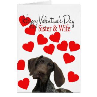 姉妹及び妻の光沢のあるハイイログマのバレンタインの初恋 カード