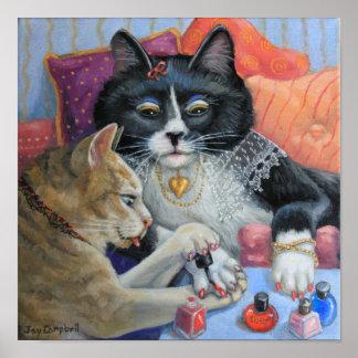 """""""姉妹物""""の子猫の姉妹は彼女達のネイルをします ポスター"""