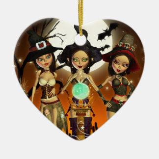 姉妹3の魅惑的な魔法使いのハートのオーナメント 陶器製ハート型オーナメント