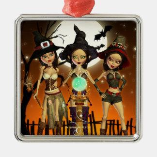 姉妹3の魔法使いの正方形の銀製のオーナメント メタルオーナメント