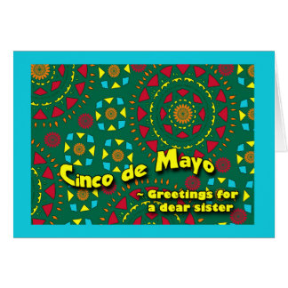 姉妹、カラフルなモザイクのためのCinco deメーヨー カード