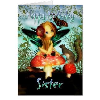 姉妹、バースデー・カード、かわいく小さい妖精 カード