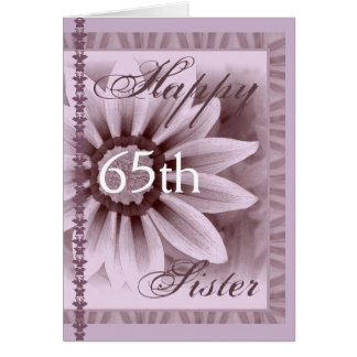 姉妹-幸せな第65誕生日-ラベンダーのデイジー カード