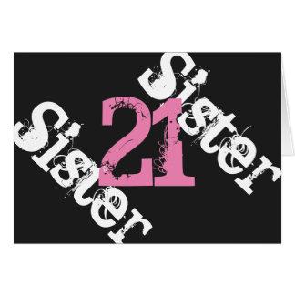 姉妹、第21誕生日、黒でピンク白 カード
