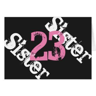 姉妹、第23誕生日、黒でピンク白 カード