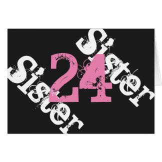 姉妹、第24誕生日、黒でピンク白 カード
