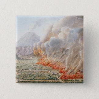 始まったヴェスヴィオの噴火の眺め 5.1CM 正方形バッジ
