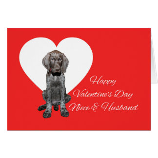 姪及び夫の光沢のあるハイイログマのバレンタイン カード