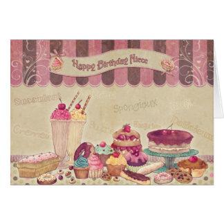姪-バースデー・カード-ケーキおよび菓子 カード