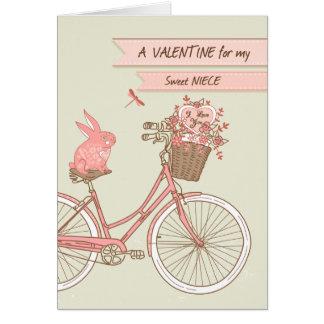 姪、自転車、ピンクのウサギのためのバレンタインデー カード