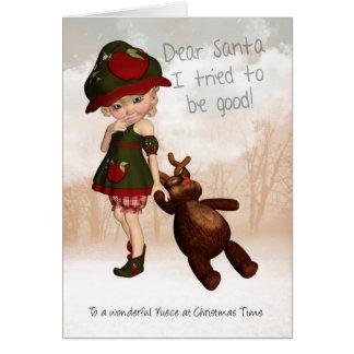 姪、親愛なサンタのレトロのかわいいクリスマスカード カード