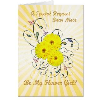 姪、flowergirlの招待、黄色い花 カード