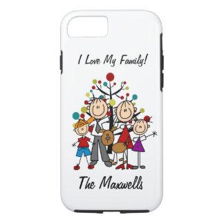 姿のパパ、お母さん、女の子、男の子、犬のiPhone 7を付けて下さい iPhone 8/7ケース