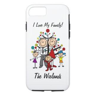 姿のパパ、お母さん、2人の女の子、男の子のiPhone 7を付けて下さい iPhone 8/7ケース