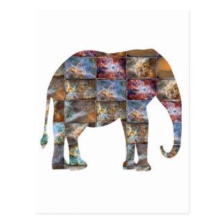 威厳のあるでフレンドリーな動物: 象の大理石のタイル ポストカード