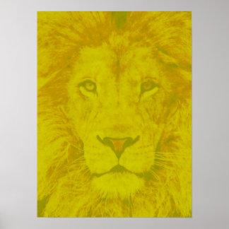 威厳のあるで黄色いライオン ポスター