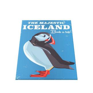 威厳のあるなアイスランドのツノメドリのヴィンテージ旅行ポスター キャンバスプリント