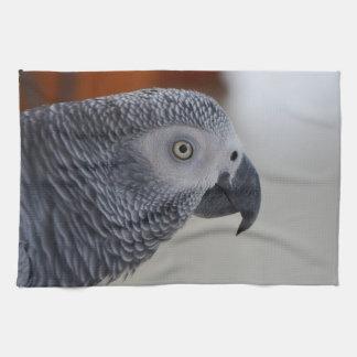 威厳のあるなアフリカ灰色のオウム 台所タオル