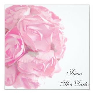 威厳のあるなピンクのバラのセーブ・ザ・デート案内 カード