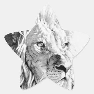 威厳のあるなライオン 星シール