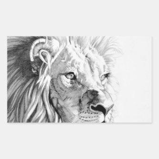 威厳のあるなライオン 長方形シール