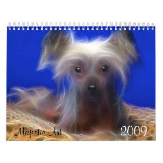 威厳のあるな芸術、Fractualデジタル犬の写真 カレンダー