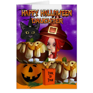 娘のハロウィンの魔法使い猫のカボチャジャッキoのlanter カード