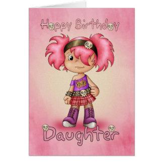 娘のバースデー・カードのモダンなパンクの女の子-かわいいティー カード
