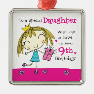 娘の第9誕生日のかわいいピンクの王女の年齢9 メタルオーナメント