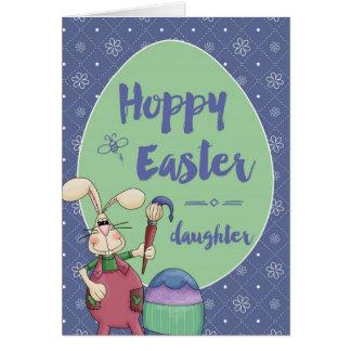 娘、ホップの豊富なイースターのウサギの芸術家の絵画の卵 カード