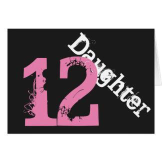 娘、第12誕生日、黒でピンク白 カード