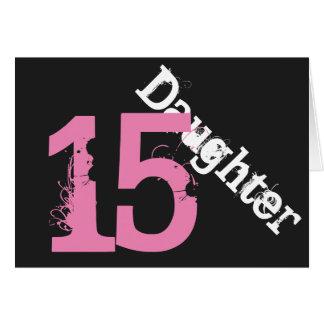 娘、第15誕生日、黒でピンク白 カード