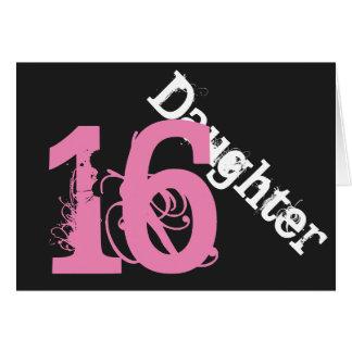 娘、第16誕生日、黒でピンク白 カード