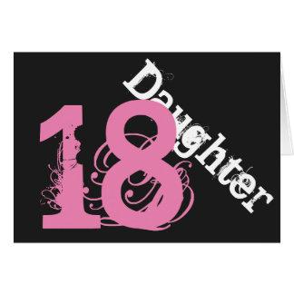 娘、第18誕生日、黒でピンク白 カード