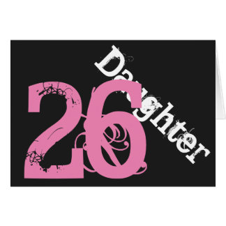 娘、第26誕生日、黒でピンク白 カード