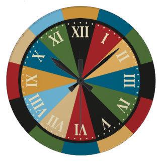娯楽室の投げ矢板カラフルなヴィンテージの時計 ラージ壁時計
