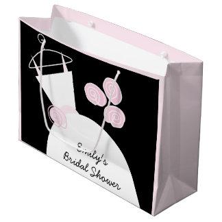 婚礼衣裳のピンクのブライダルシャワーの黒のパステル調の大きい ラージペーパーバッグ