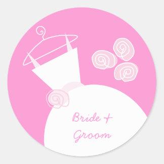 婚礼衣裳のピンクは円形ステッカーを「示します」 ラウンドシール