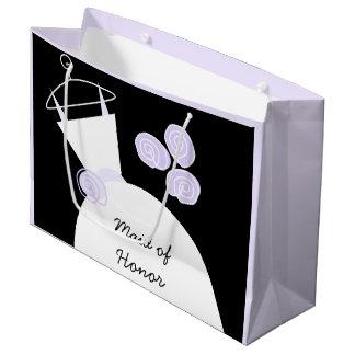 婚礼衣裳の紫色の女中の名誉の黒のパステルのlrge ラージペーパーバッグ