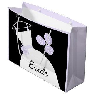 婚礼衣裳の紫色の花嫁の黒のパステル調の大きい ラージペーパーバッグ