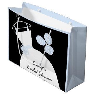 婚礼衣裳の青いブライダルシャワーの黒のパステル調の大きい ラージペーパーバッグ