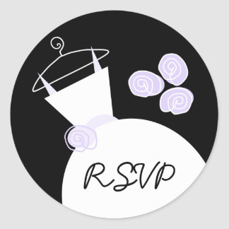 婚礼衣裳円形紫色の「RSVP」のステッカー ラウンドシール