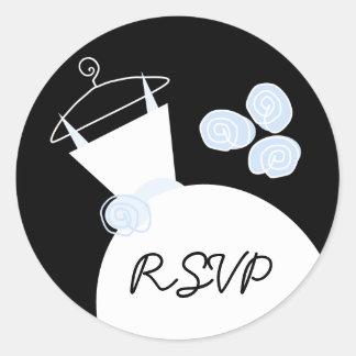 婚礼衣裳円形青い「RSVP」のステッカー ラウンドシール
