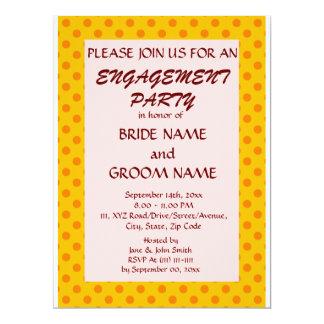 婚約のパーティーオレンジ水玉模様、ピンクの背景 カード