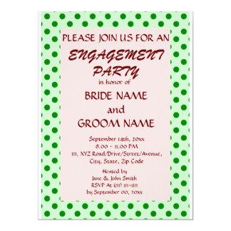 婚約のパーティー緑の水玉模様、ピンクの背景 カード