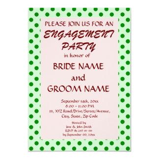 婚約のパーティー緑の水玉模様、ピンクの背景 12.7 X 17.8 インビテーションカード