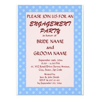 婚約のパーティー青い水玉模様、ピンクの背景 16.5 X 22.2 インビテーションカード