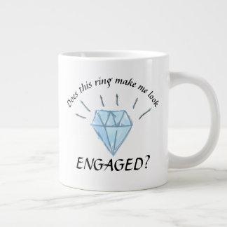 婚約のマグ-ダイヤモンドのグラフィック ジャンボコーヒーマグカップ