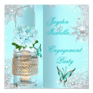 婚約のメーソンジャーのティール(緑がかった色)の青い蝶パーティー3 13.3 スクエアインビテーションカード